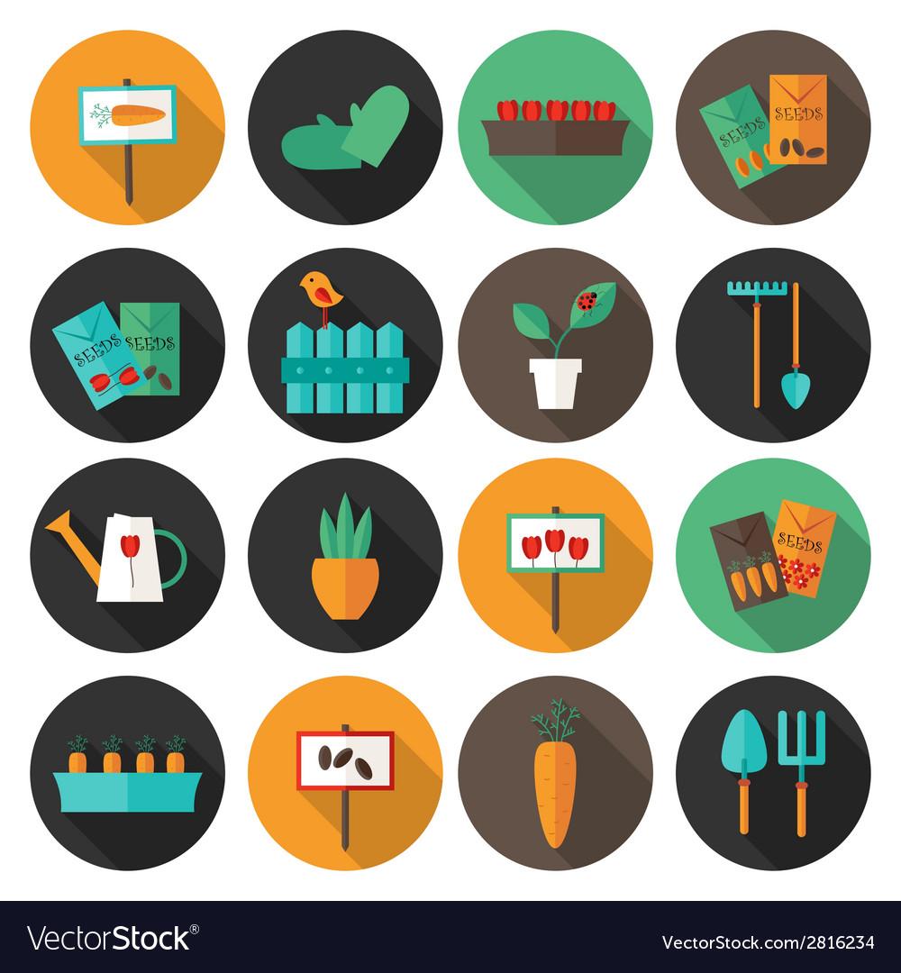 Gardening set circle flat icons vector   Price: 1 Credit (USD $1)