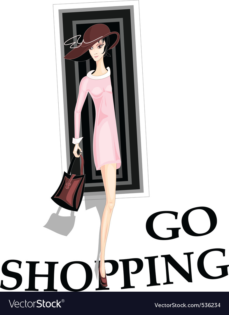 Girl go shopping vector | Price: 1 Credit (USD $1)