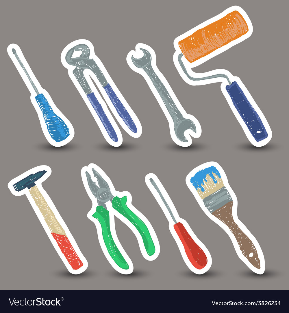 Hardware tools drawing vector | Price: 1 Credit (USD $1)