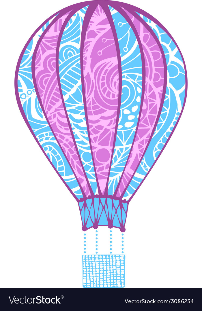 Hot air balloon isolated on white background vector | Price: 1 Credit (USD $1)