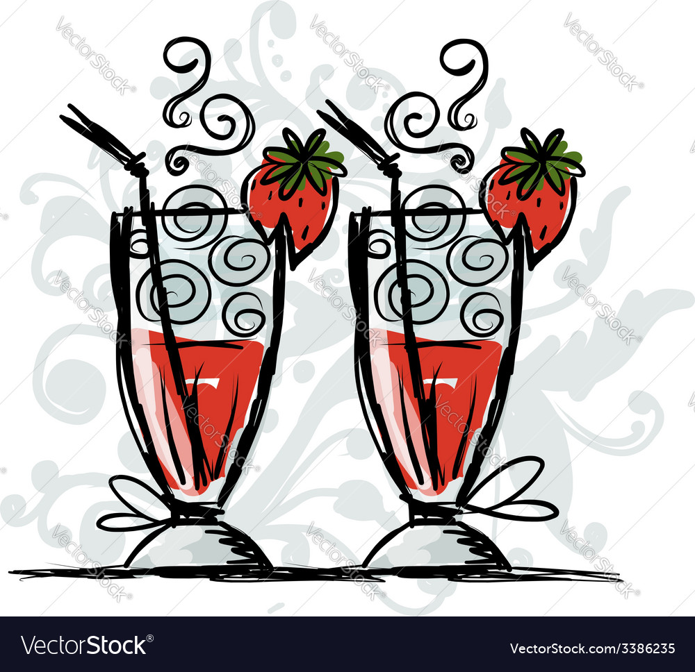 Cocktails with strawberry sketch for your design vector | Price: 1 Credit (USD $1)