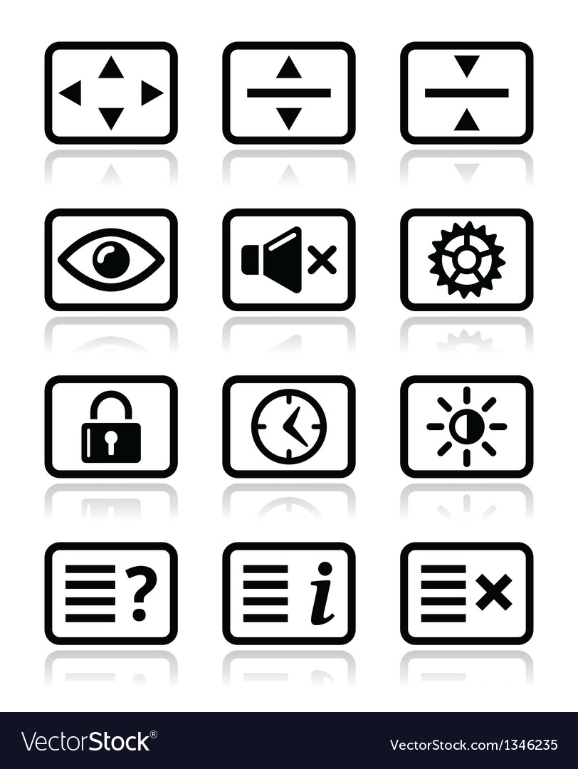 Computer tv monitor screen icons set vector | Price: 1 Credit (USD $1)