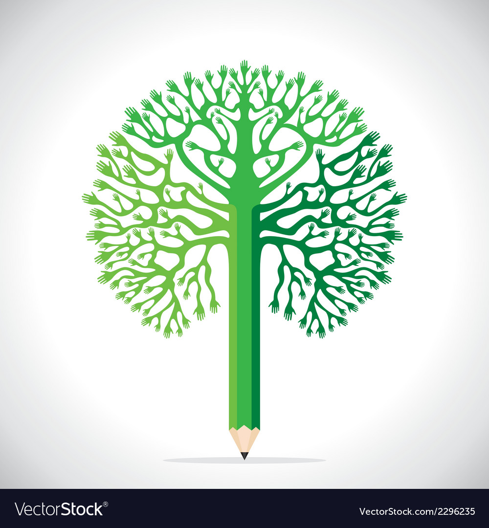 Creative tree design with hand vector | Price: 1 Credit (USD $1)