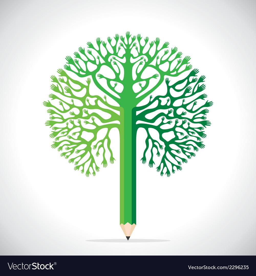 Creative tree design with hand vector | Price: 1 Credit (USD $1)