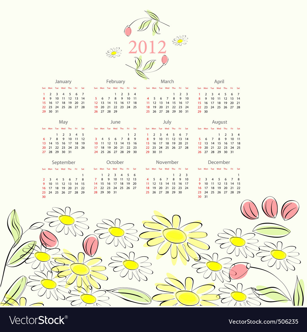 Decorative calendar for 2012 vector | Price: 1 Credit (USD $1)