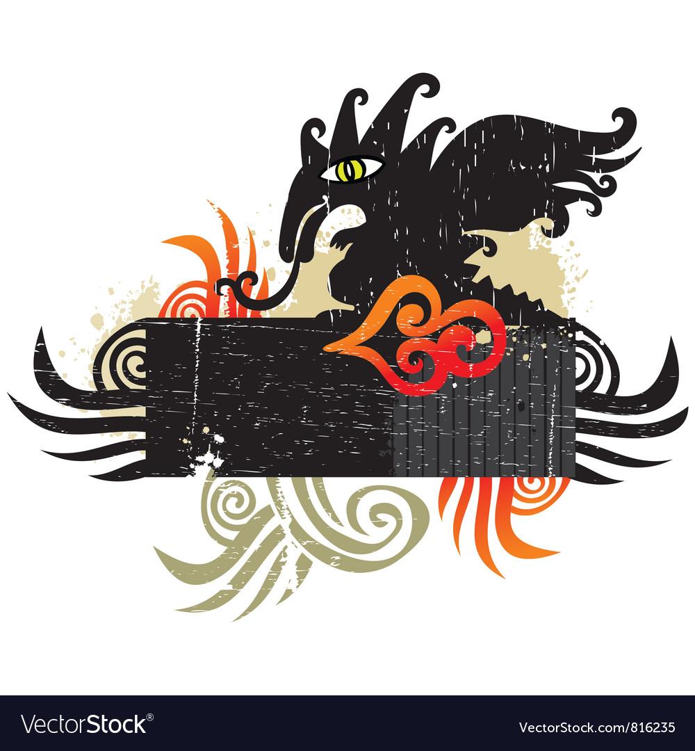 Dragons grunge design element vector   Price: 3 Credit (USD $3)