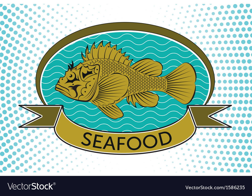 Fish label vector | Price: 1 Credit (USD $1)