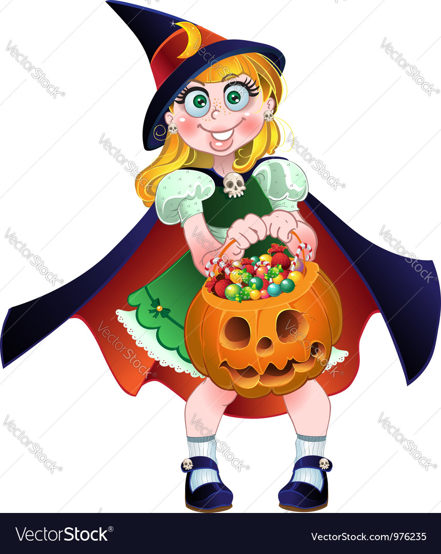 Girl hold in her hands pumpkin with a candy vector | Price: 3 Credit (USD $3)