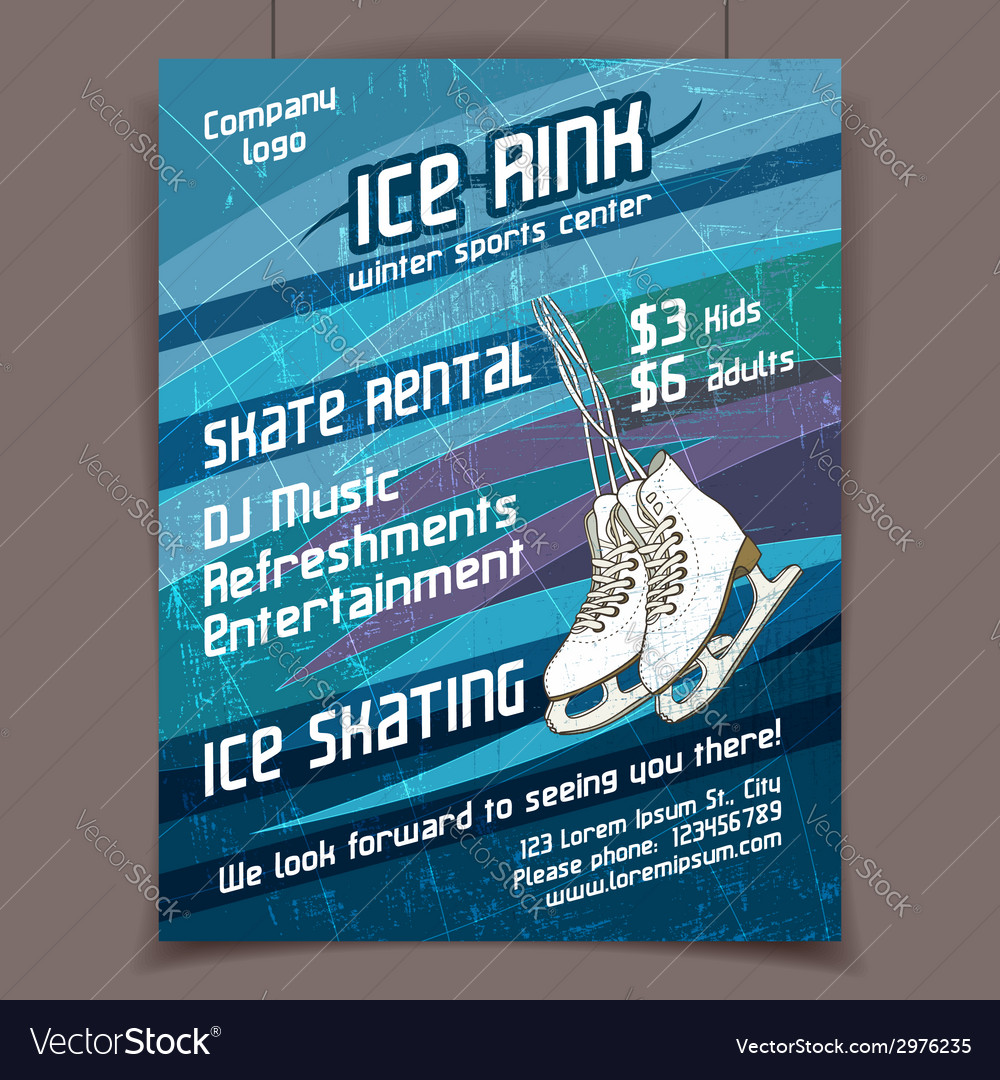 Ice rink advertising poster vector