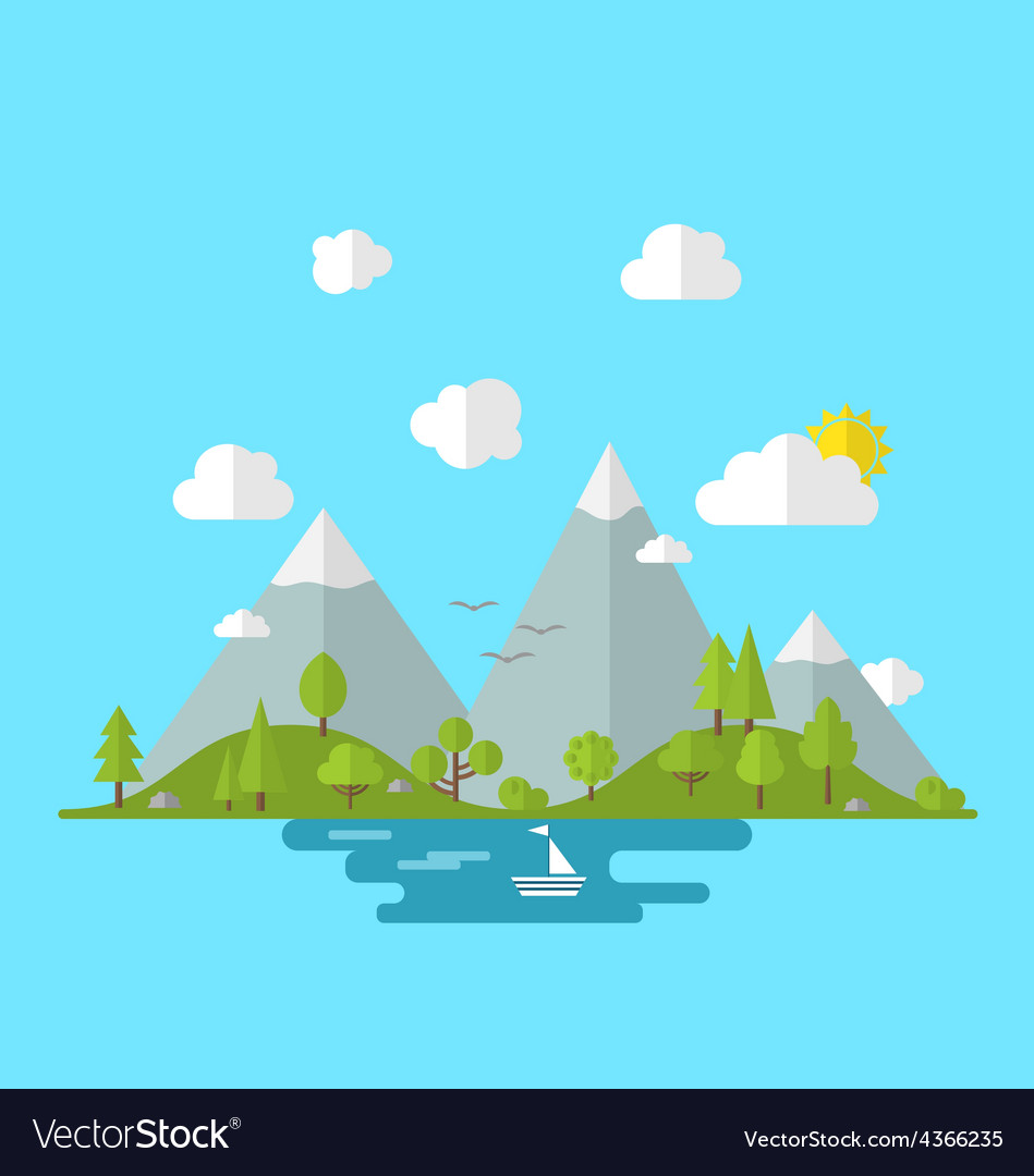 Landscape woods valley hill forest land scene view vector | Price: 1 Credit (USD $1)