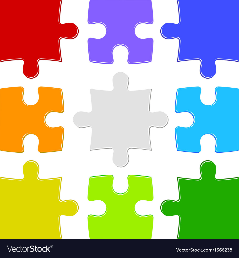 Nine color puzzles vector | Price: 1 Credit (USD $1)