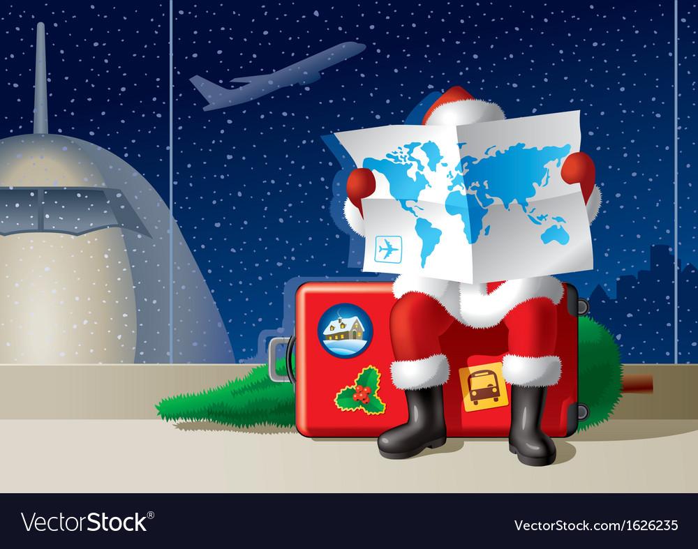 Santas christmas travel vector   Price: 3 Credit (USD $3)
