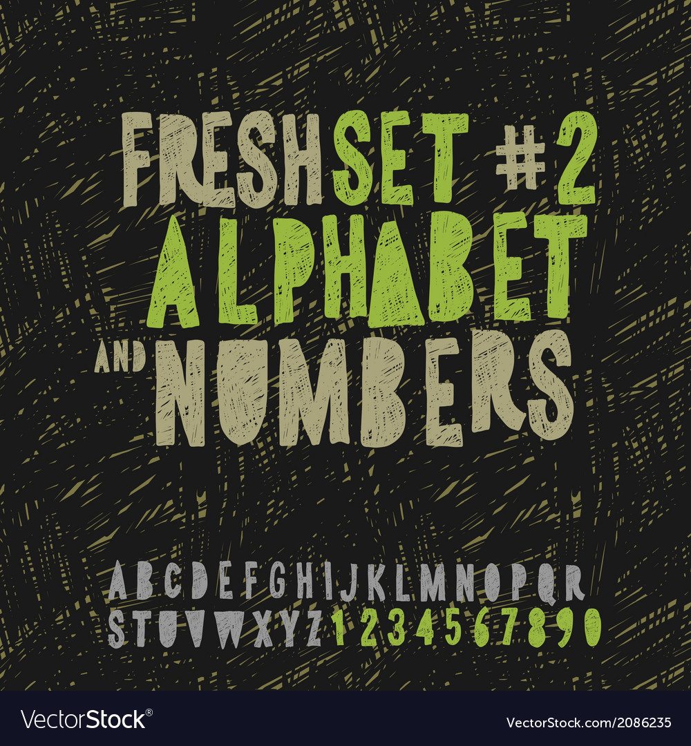 Set of hand drawing alphabet and numbers vector | Price: 1 Credit (USD $1)