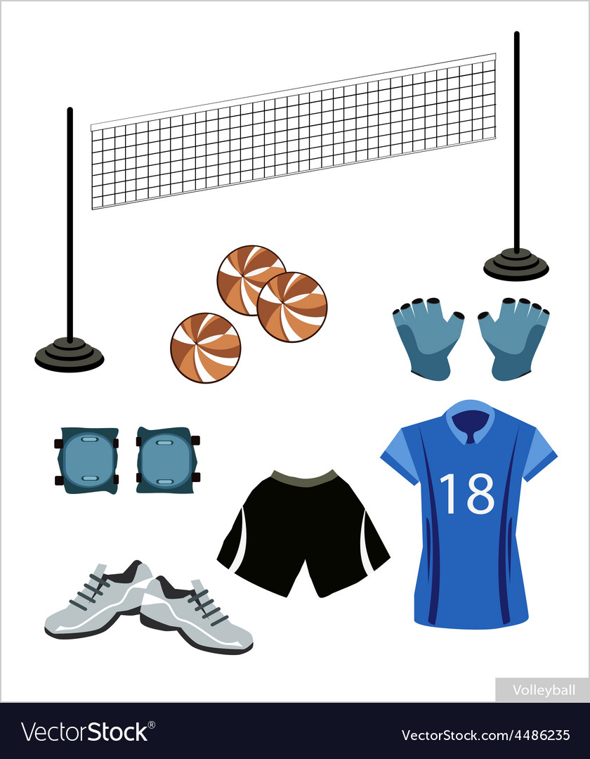Set of volleyball equipment on white background vector | Price: 1 Credit (USD $1)