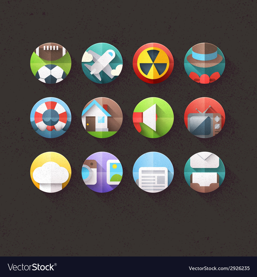 Textured flat icons for mobile and web set 3 vector   Price: 1 Credit (USD $1)