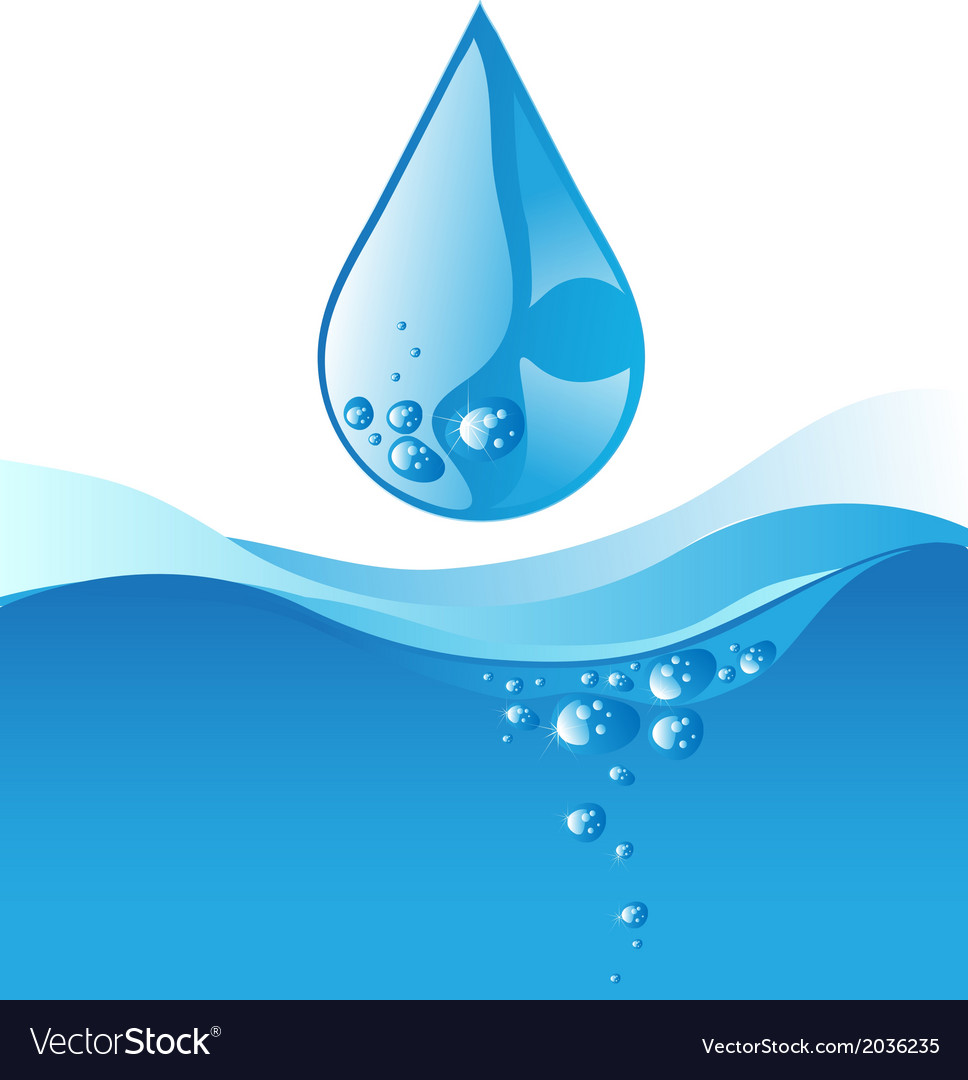 Water drop and blue wave on white background vector | Price: 1 Credit (USD $1)