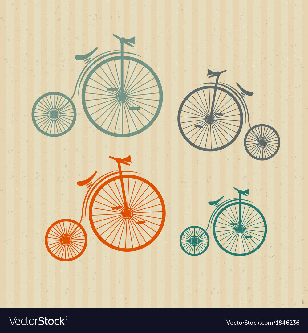 Abstract old vintage bicycles bikes on recycled vector | Price: 1 Credit (USD $1)