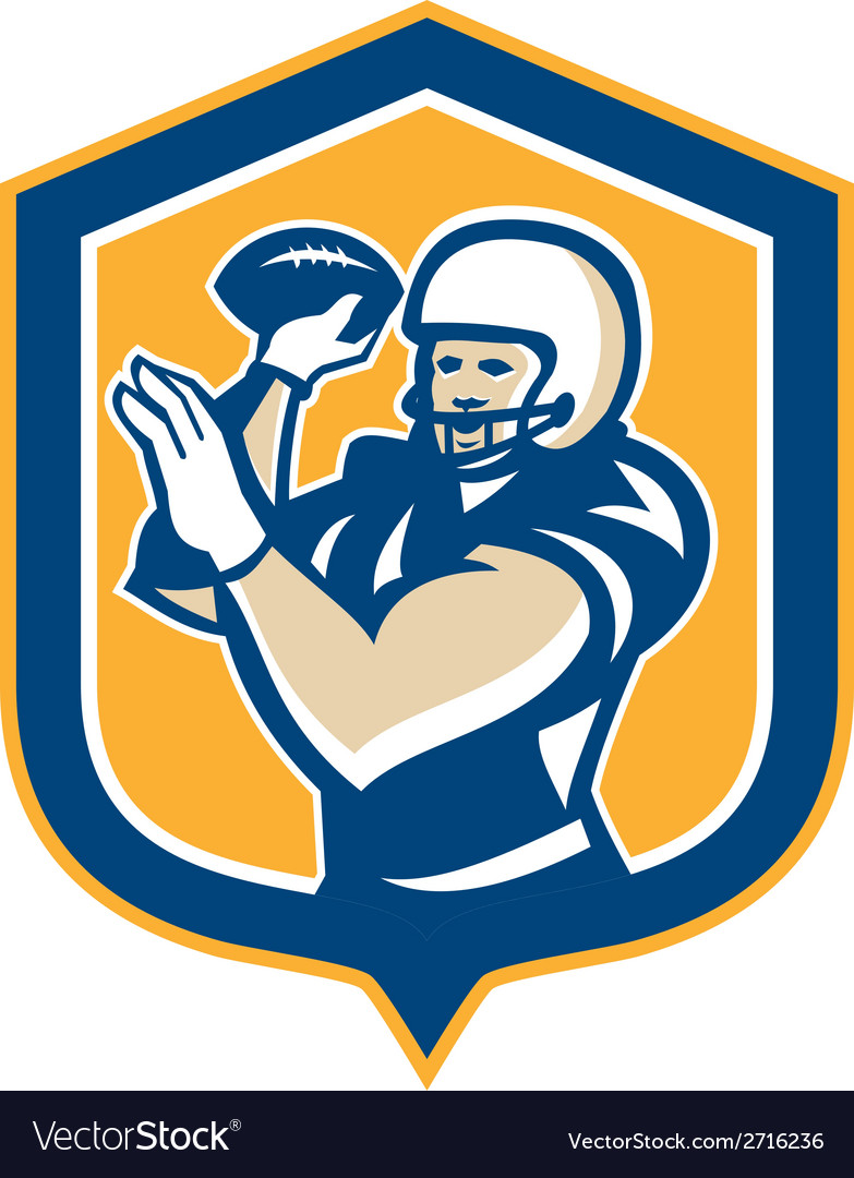 American football qb throwing shield retro vector | Price: 1 Credit (USD $1)