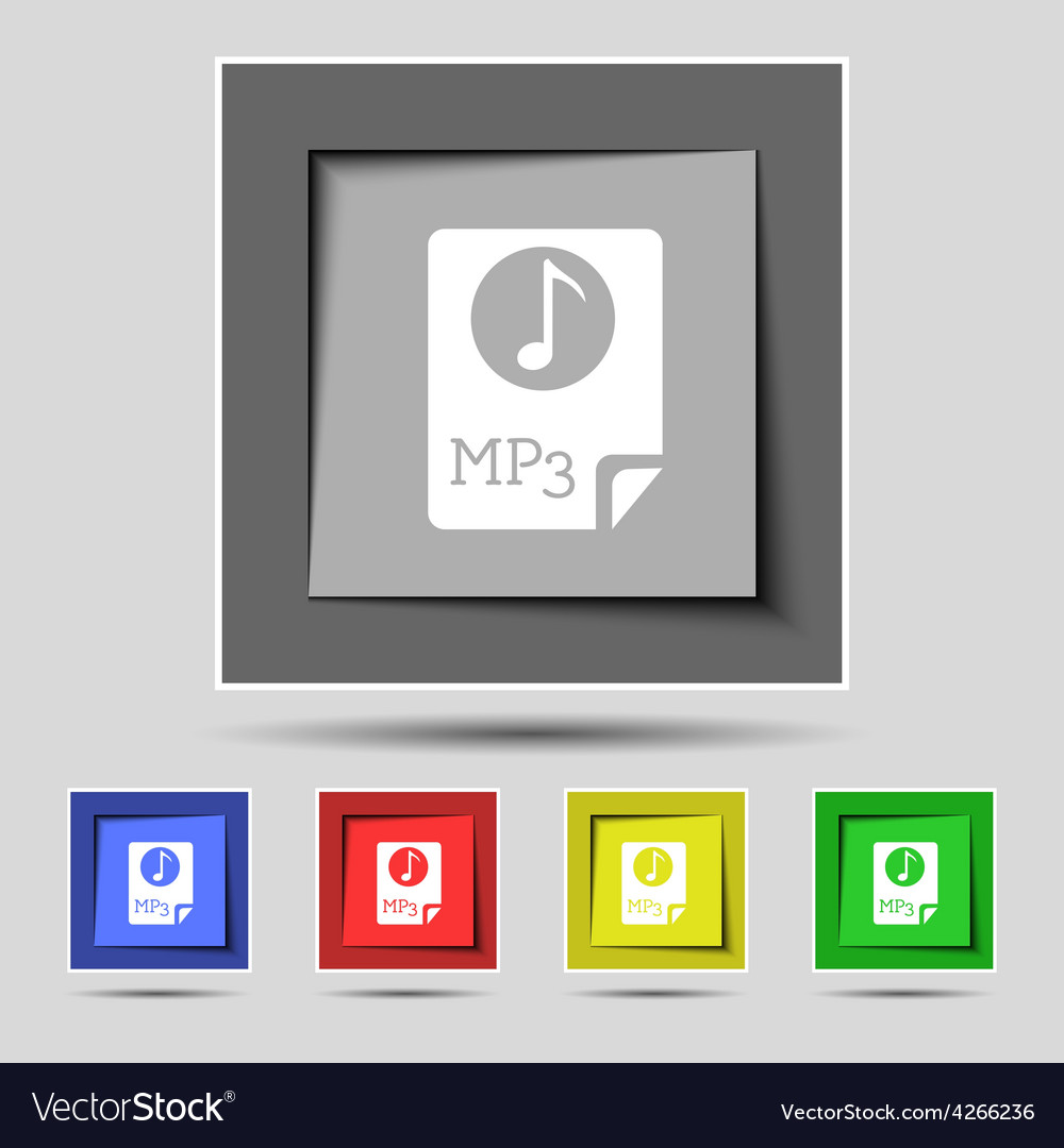 Audio mp3 file icon sign on the original five vector | Price: 1 Credit (USD $1)