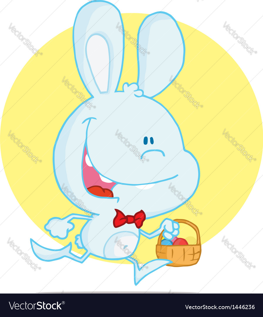 Blue rabbit running with easter eggs in a basket vector | Price: 1 Credit (USD $1)