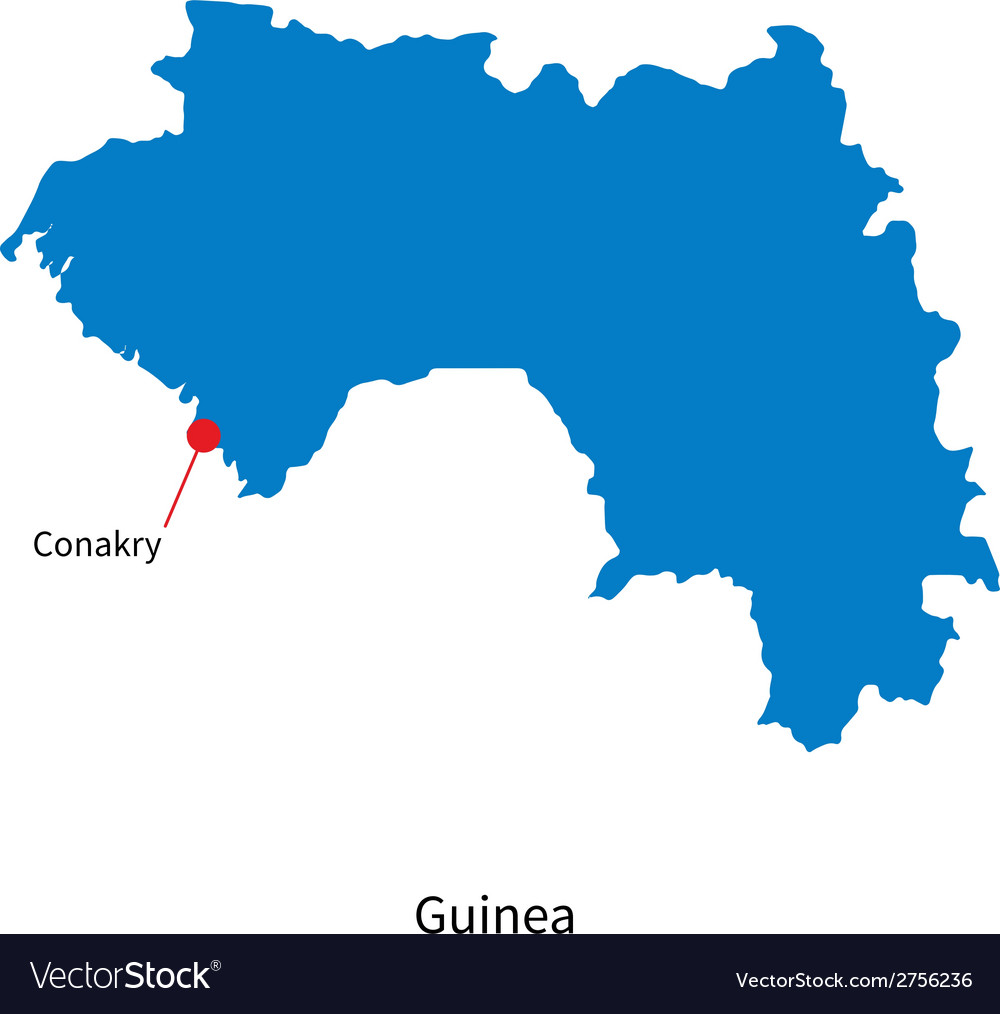 Detailed map of guinea and capital city conakry vector | Price: 1 Credit (USD $1)