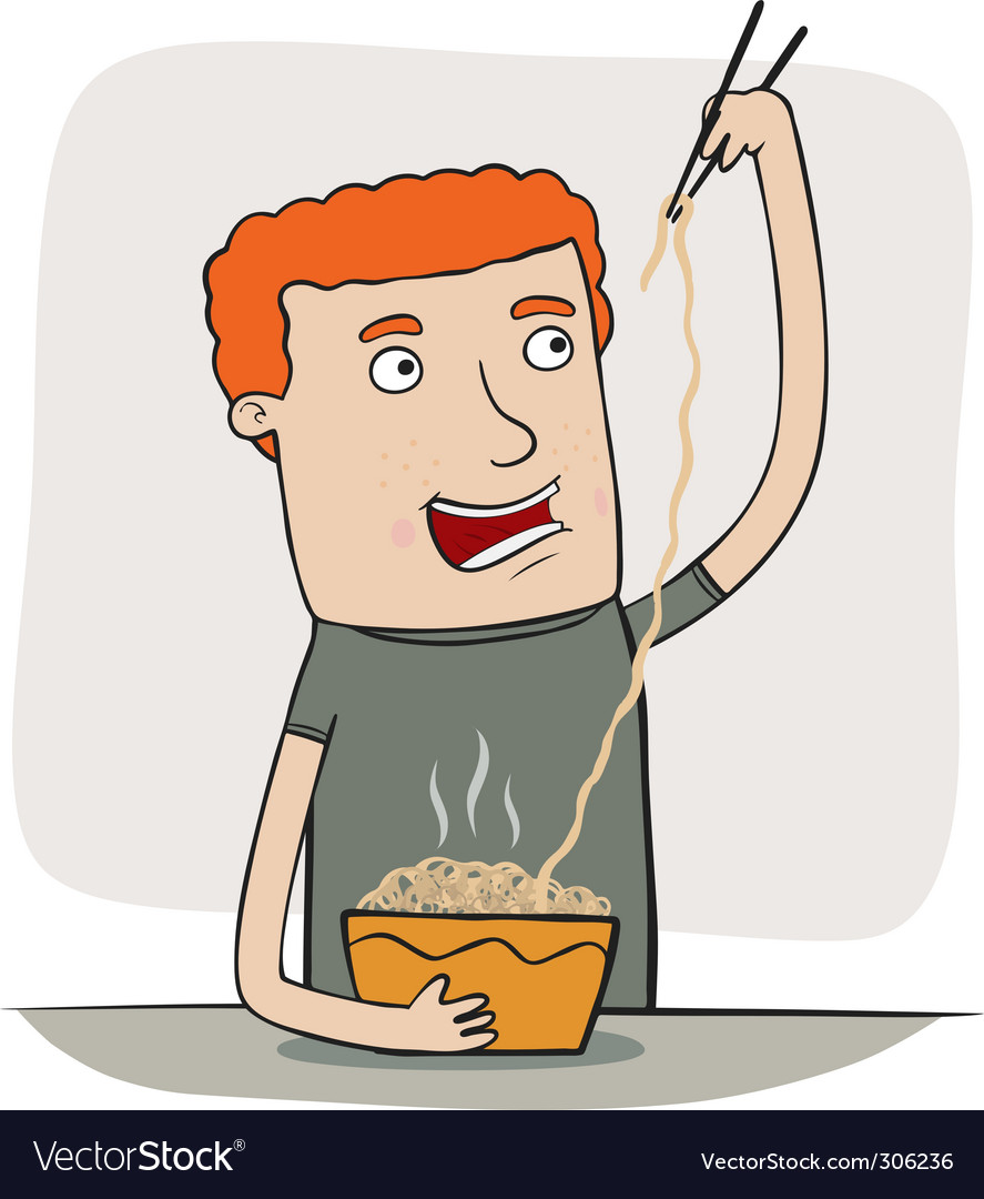 Guy eating noodles vector | Price: 1 Credit (USD $1)