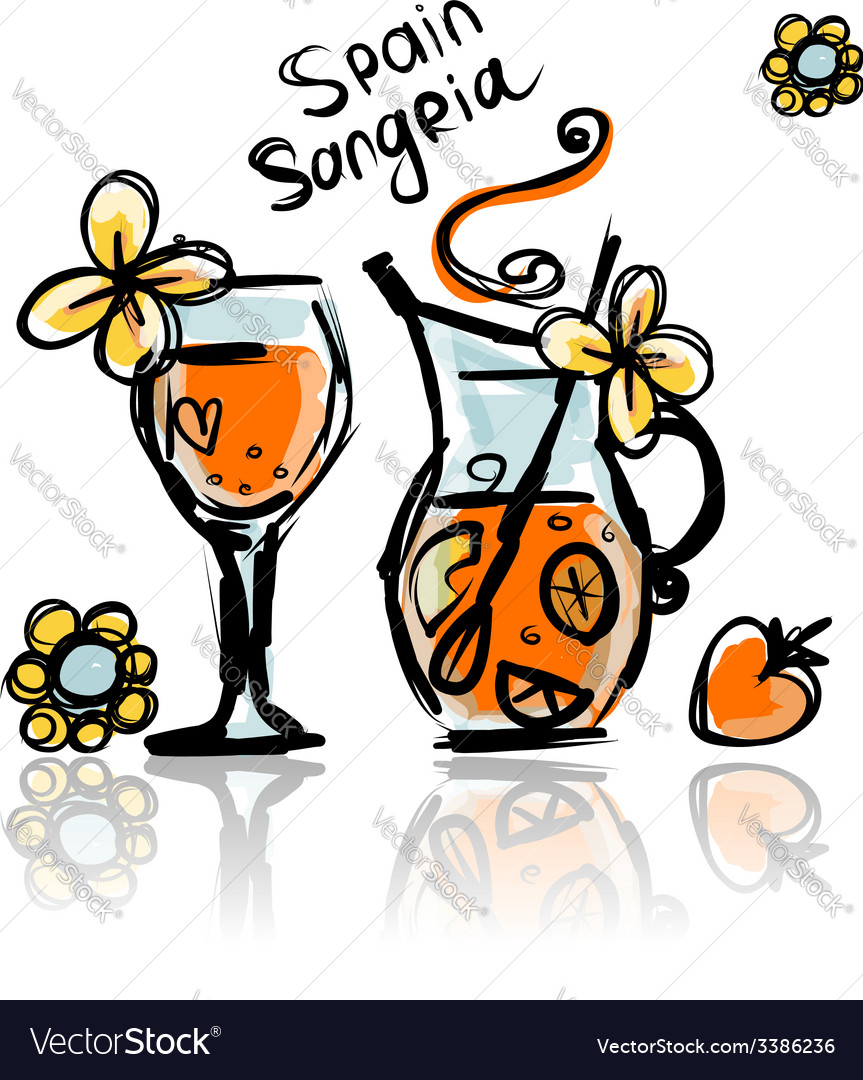 Sangria spanish drink sketch for your design vector | Price: 1 Credit (USD $1)