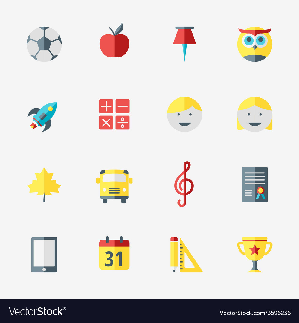 School and education icons set in flat design vector   Price: 1 Credit (USD $1)