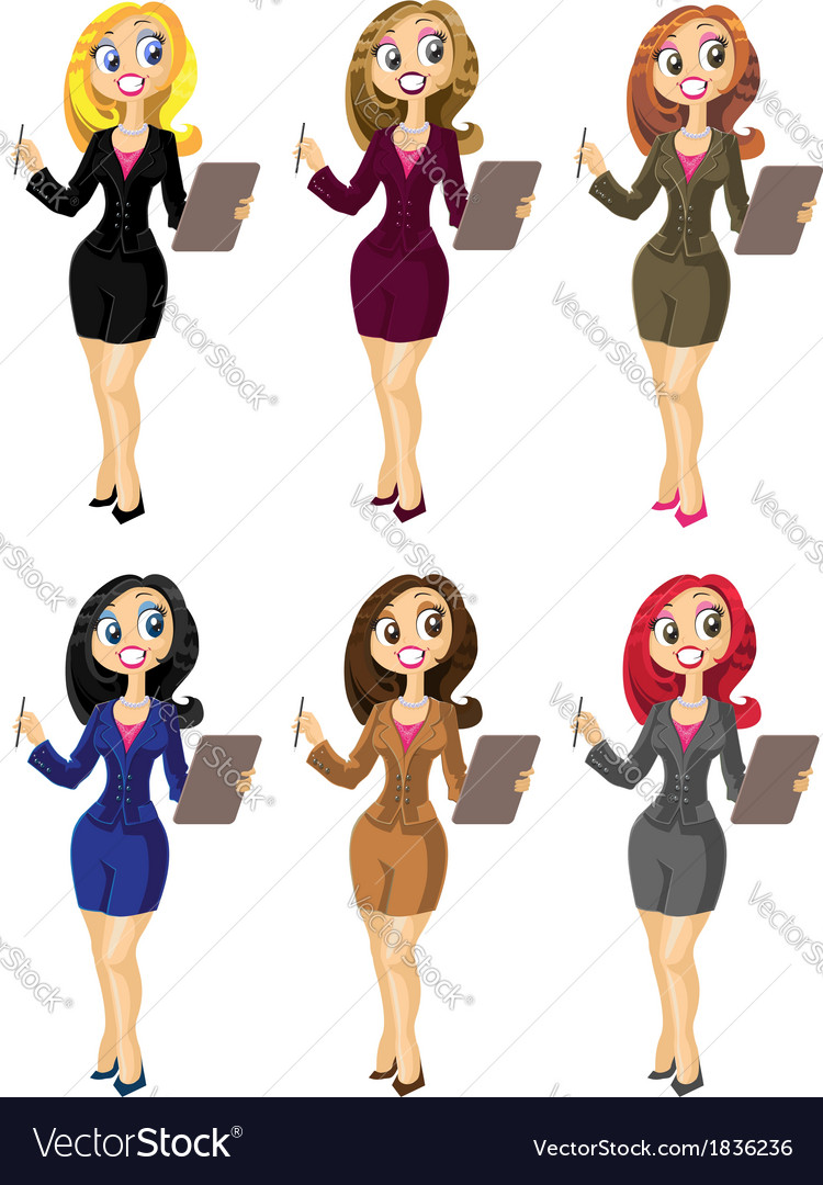 Set of bisness woman in color variant vector | Price: 3 Credit (USD $3)