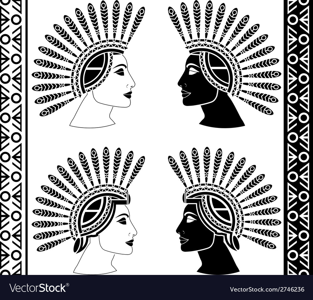 Set of mayan woman profiles vector | Price: 1 Credit (USD $1)