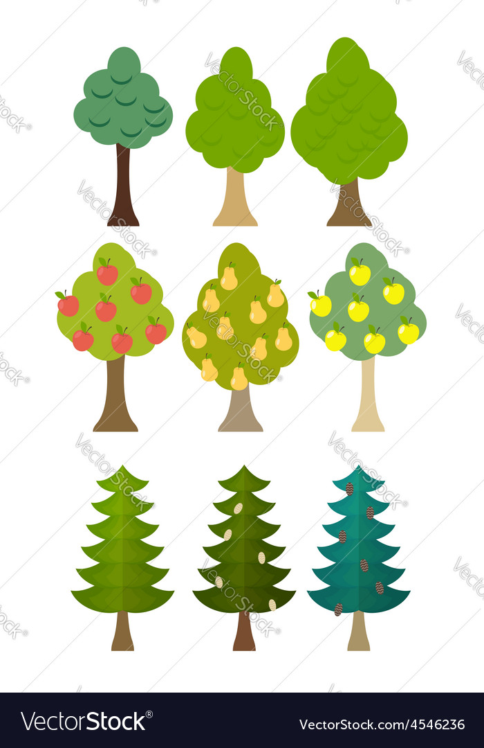 Set tree icon fruit trees conifers forest trees vector | Price: 1 Credit (USD $1)