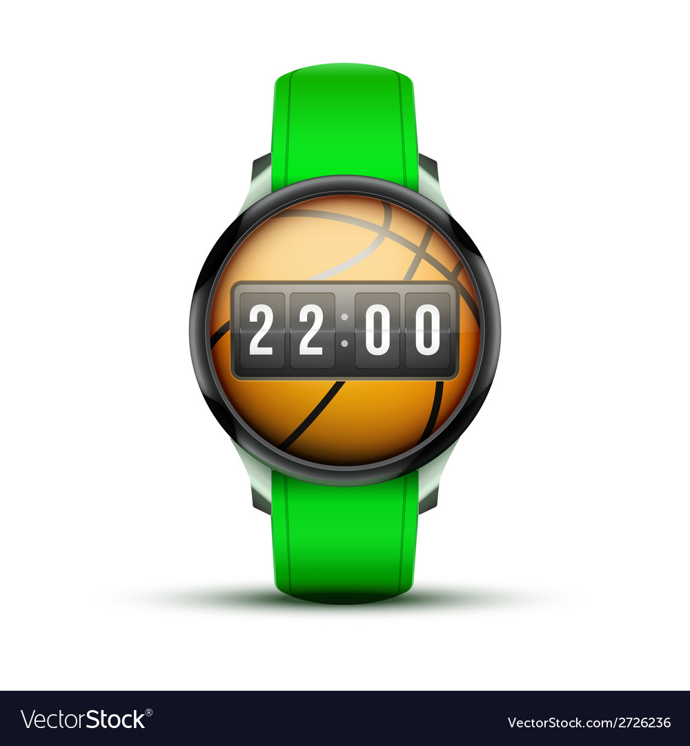 Sport smart watch with time and basketball ball vector | Price: 1 Credit (USD $1)