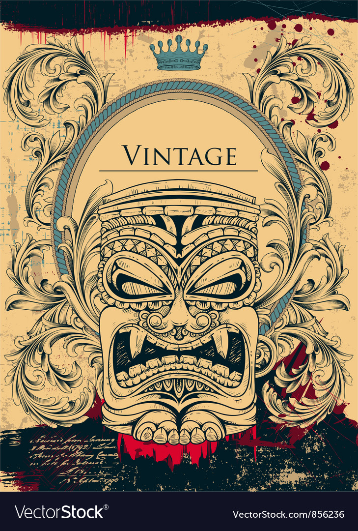 Vintage background with totem vector | Price: 3 Credit (USD $3)