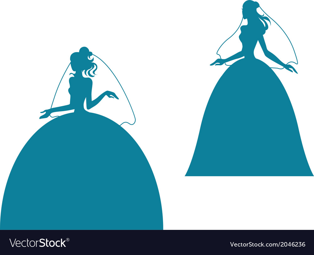 Young bride silhouette in wedding dress vector   Price: 1 Credit (USD $1)