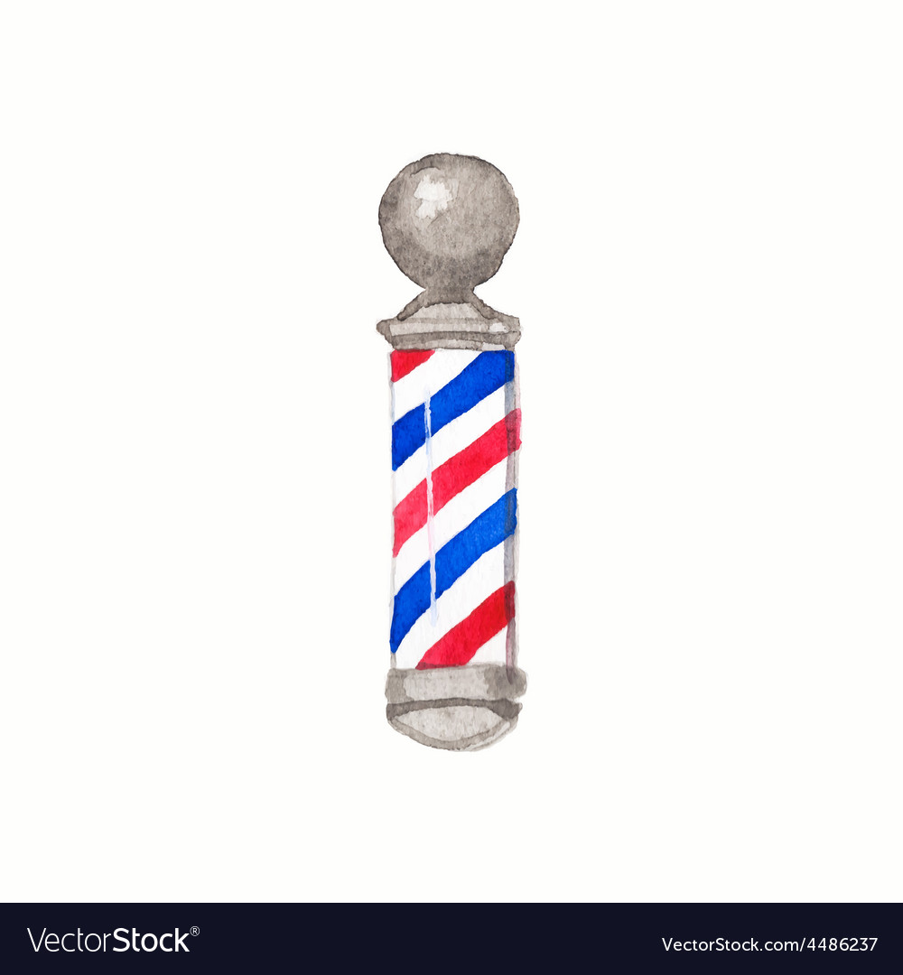 Barber pole watercolor barber poles on the white vector | Price: 1 Credit (USD $1)