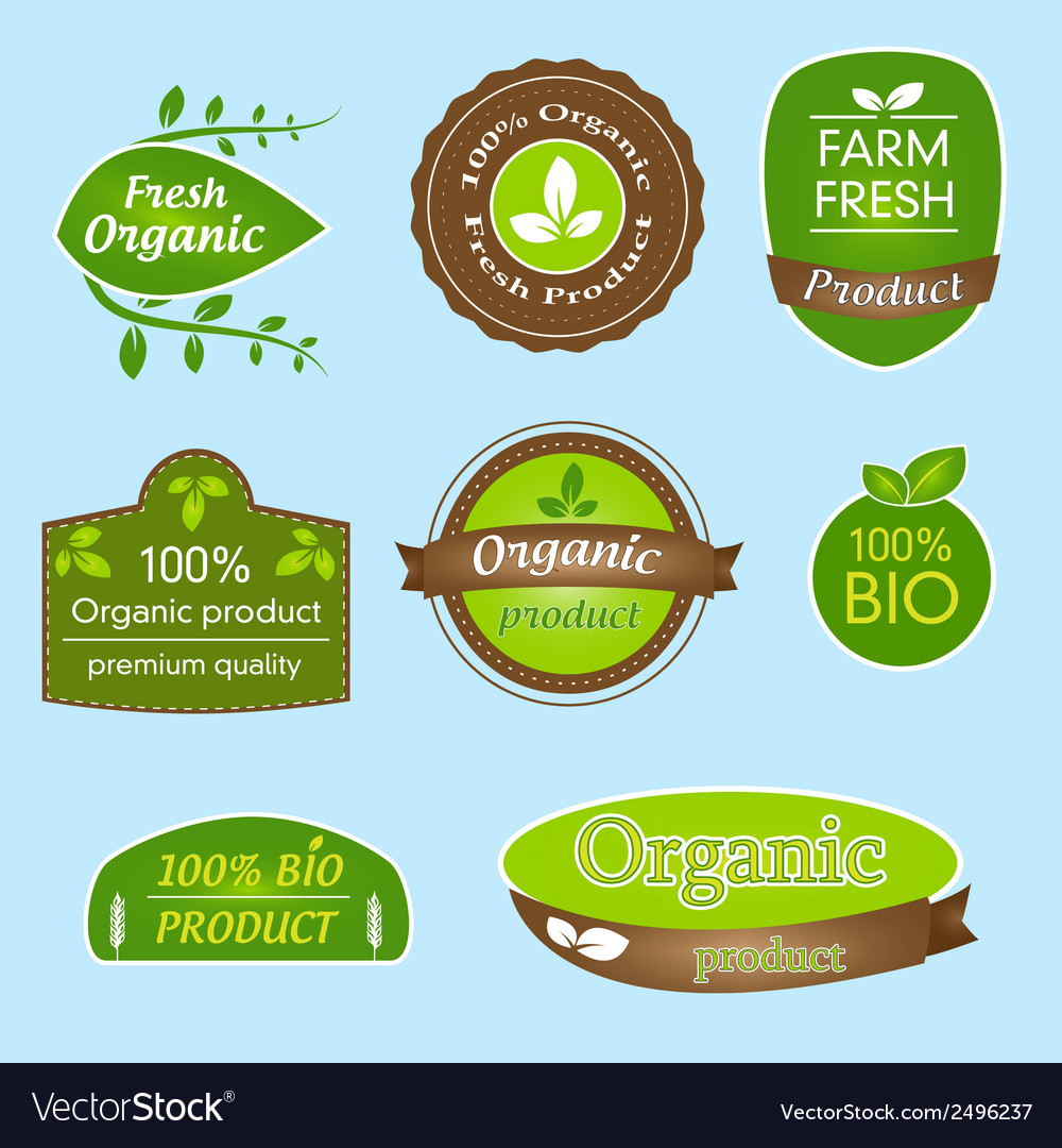 Bundle of labels for organic bio natural foods vector | Price: 1 Credit (USD $1)