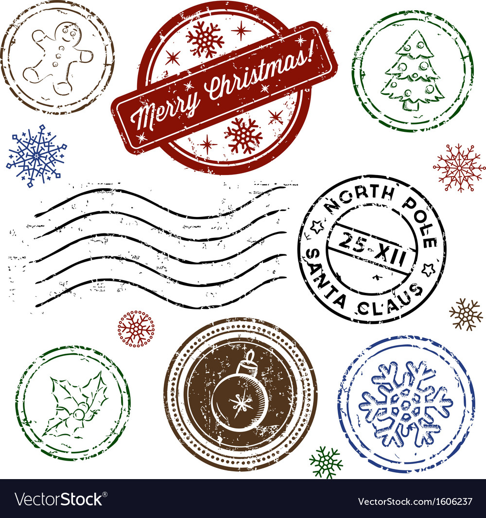 Christmas stamp set isolated on white vector | Price: 1 Credit (USD $1)