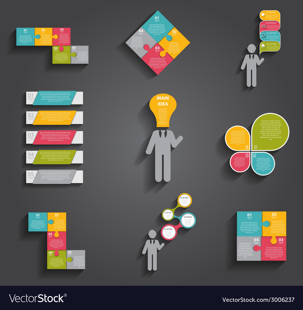 Collection of infographic templates for business vector   Price: 1 Credit (USD $1)