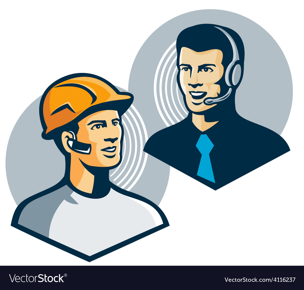 Construction worker telemarketer retro vector | Price: 1 Credit (USD $1)