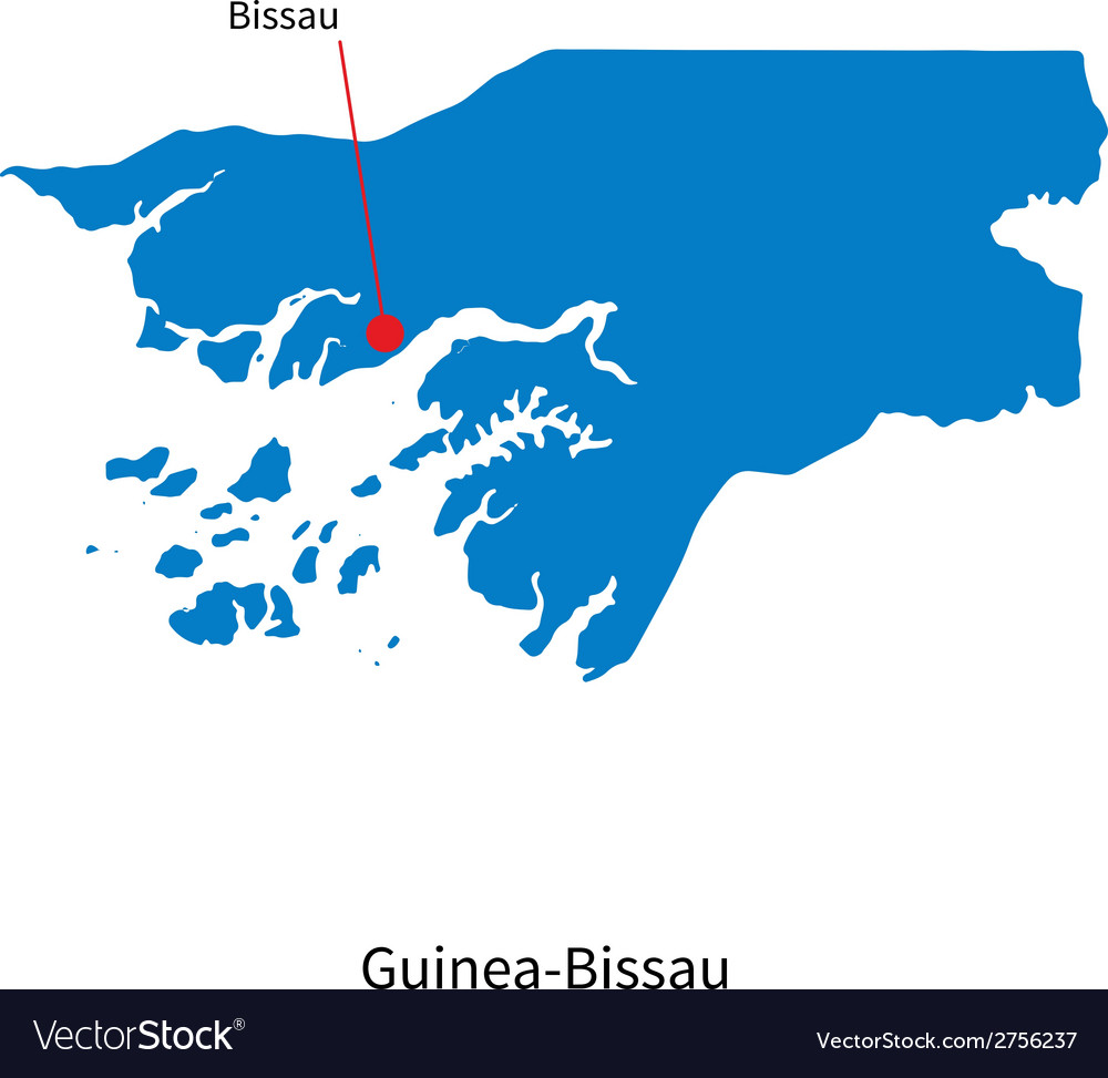 Detailed map of guinea-bissau and capital city vector | Price: 1 Credit (USD $1)