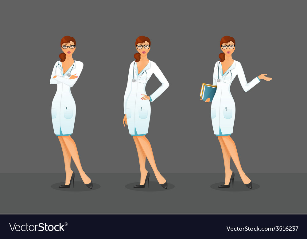 Doctor in various poses vector | Price: 1 Credit (USD $1)