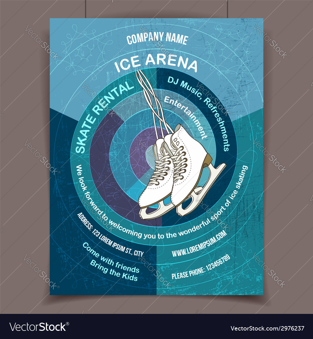 Ice skating rink advertising poster vector | Price: 1 Credit (USD $1)