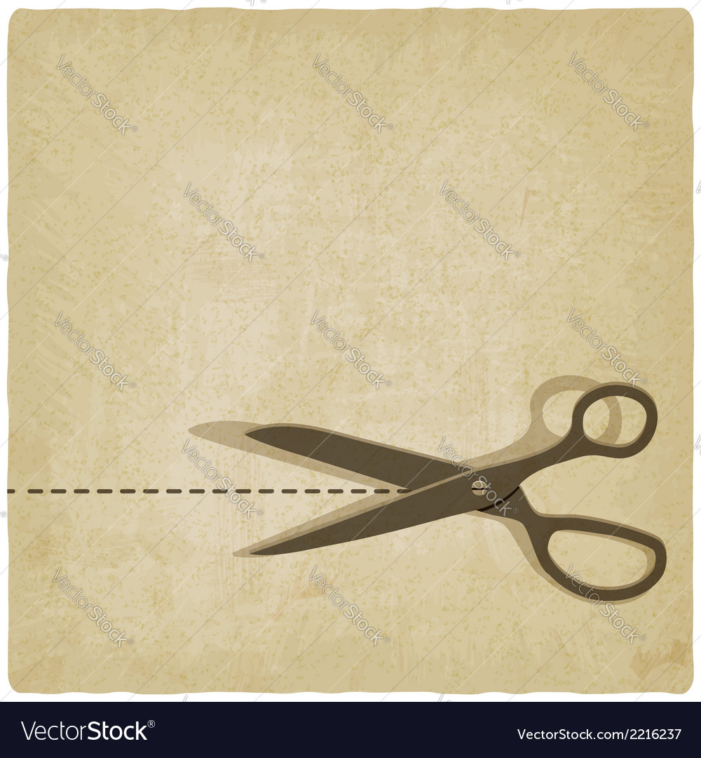 Scissors cut lines old background vector | Price: 1 Credit (USD $1)
