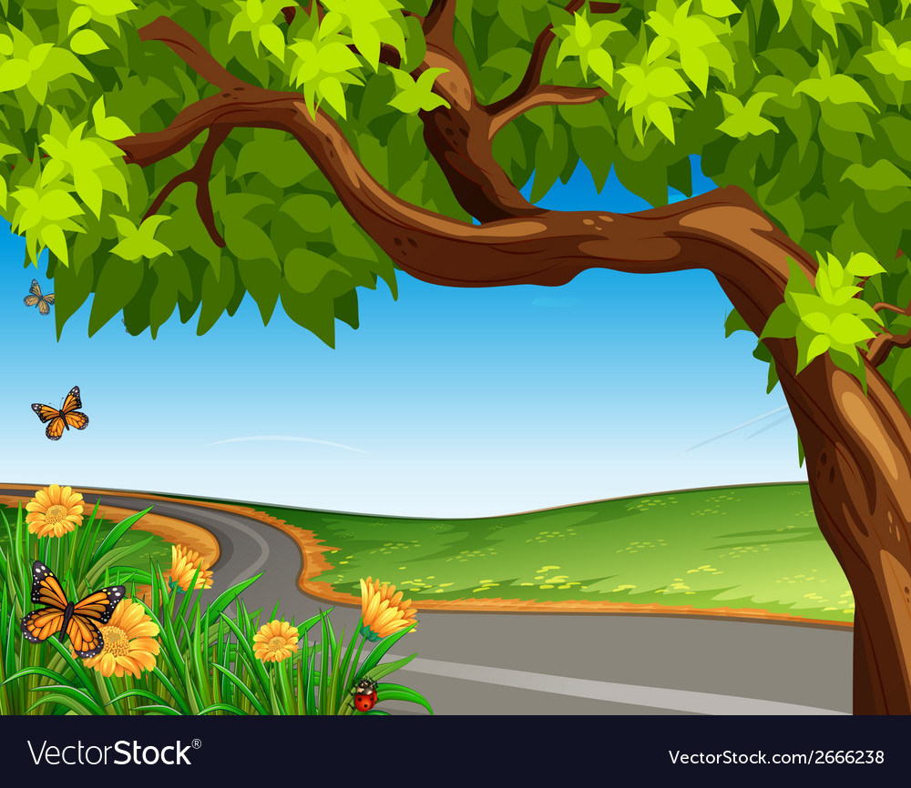 A giant tree at the road vector | Price: 1 Credit (USD $1)