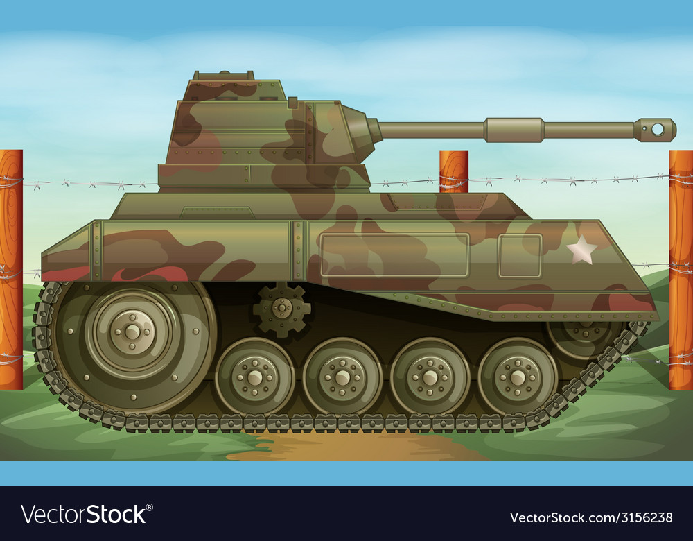 An armoured tank at the battlefield vector | Price: 1 Credit (USD $1)