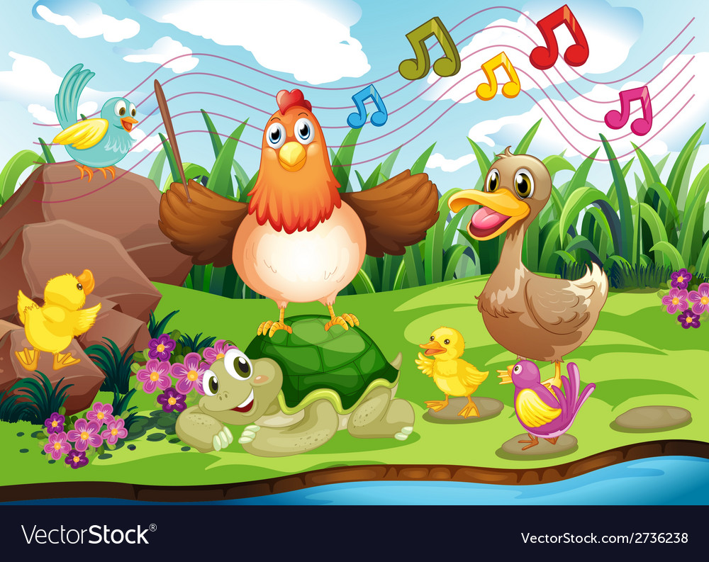 Animals singing at the riverbank vector | Price: 1 Credit (USD $1)