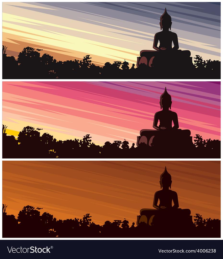 Buddha dusk vector | Price: 1 Credit (USD $1)