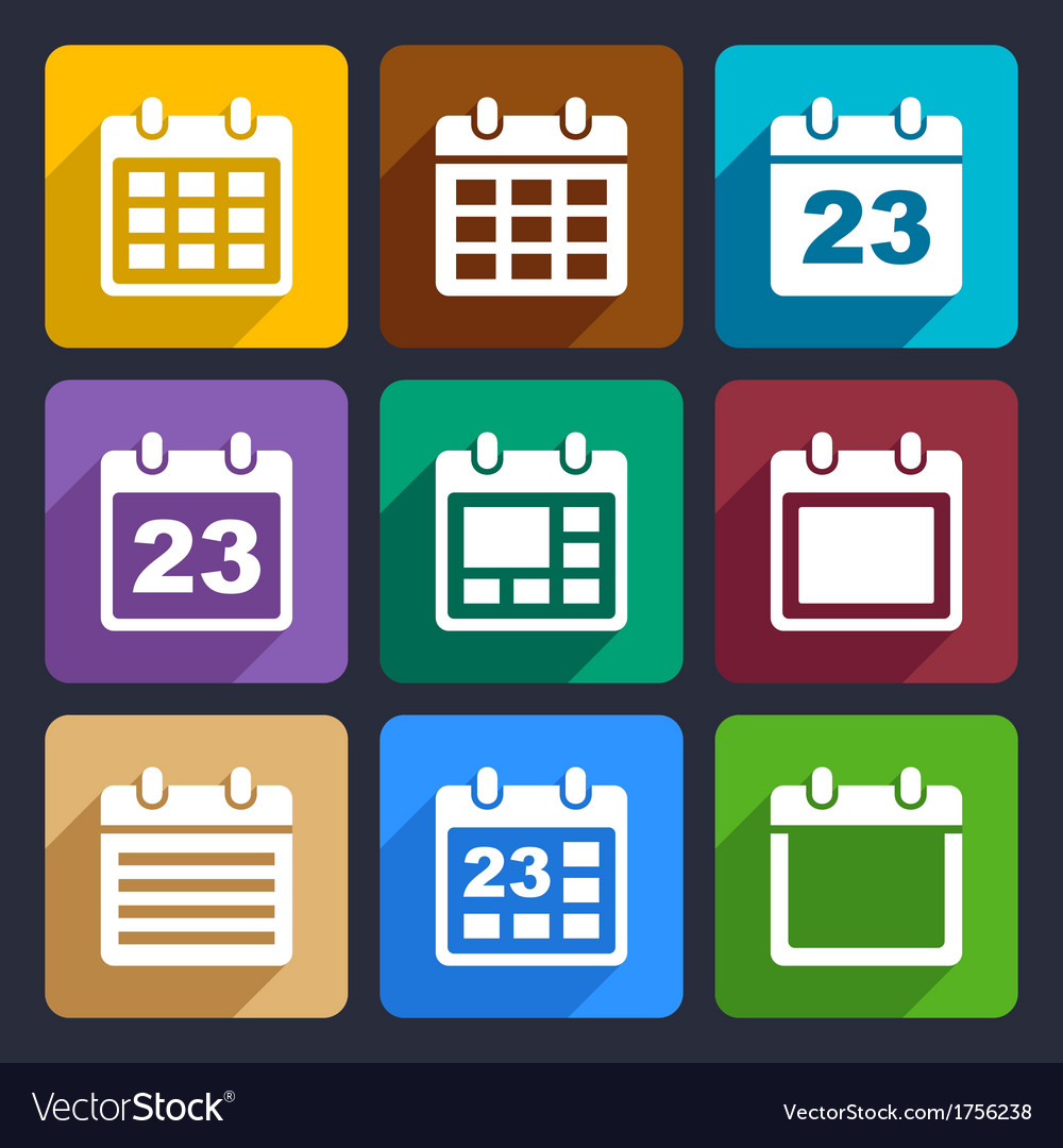 Calendar flat icons set 21 vector | Price: 1 Credit (USD $1)