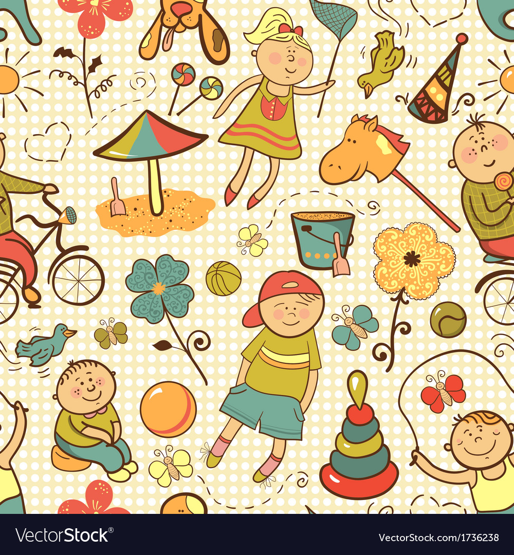 Children play with toys vector | Price: 1 Credit (USD $1)