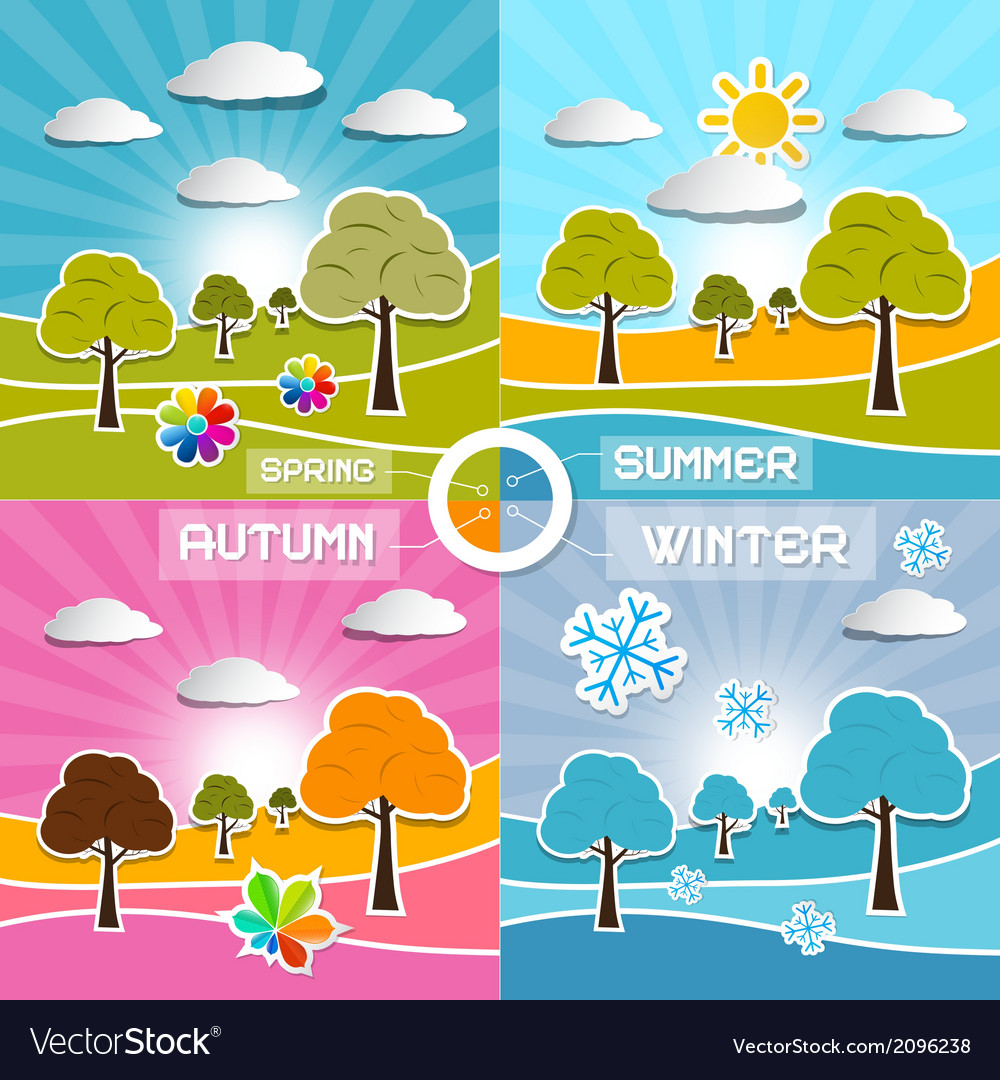 Four seasons landscape backgrounds vector | Price: 1 Credit (USD $1)